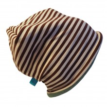 "Beanie ""Line"" Winterproof Brown/Creme ringed"