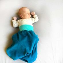 Bingabonga Swaddle Bag of Organic Plush Petrol Blue/Mint Green