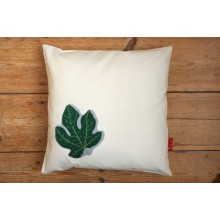 "Cushion Cover ""Figleaf"" made of organic cotton satin with or without filling 40x40 cm"