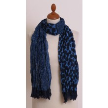 Blue Scarf with Dots Pattern made of Organic Cotton by billbillundbill