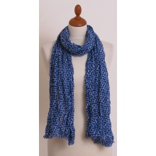 Blue & White Eco Scarf with Hexagon Pattern and Short Fringes