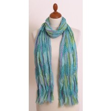 Eco Scarf in Green-Turquoise and Short Fringes