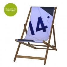 Blue-white Deckchair »Transatlantic 14« made of canvas – customizable