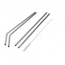 Made Sustained Stainless Steel Drinking Straw for Children & Cocktails, 4 pack with cleaning brush