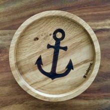 ANCHOR – Coaster made of solid Oak Wood with laser engraving