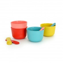 Bambino Ice Cream Set with Spoons, Bamboo dish