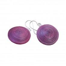 Earrings Ambikha Tie Dye from handmade paper, Plum/Pink