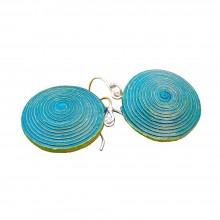 Earrings Ambikha Tie Dye from handmade paper, Turquoise/Green