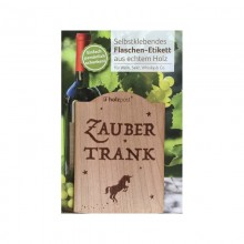 Bottle Label ZAUBERTRANK made of Cherry Tree Wood