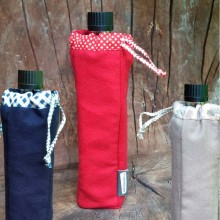 Organic Cotton Bottle Bag in various colours with refillable glass bottle
