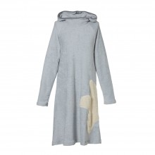 Eco Terrycloth Hoodie Dress Women Light Grey