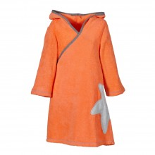 Organic Terrycloth Wrap Dress Girls Coral/Light Grey Starfish