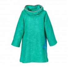 Bamboo Terrycloth Dress with Hood, Girls, Sea green