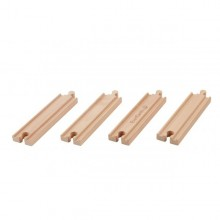 Straight Train Track made of FSC Wood, 4 pieces