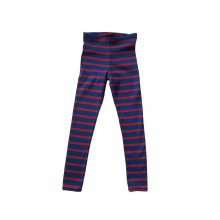 Unisex Kids Organic Cotton Fine Rib Leggings, red-blue striped