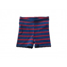 Red-blue striped Organic Fine Rib unisex Shorts & Kids Pants with Rickrack