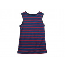 Red-blue striped Organic Fine Rib Vest & Kids Tank Top with Rickrack