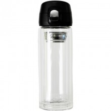Dora's Thermos Cup made of double-walled glass with Tea Strainer & One hand lid