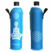 Glass Bottle with Neoprene Sleeve Happy Yoga (limited edition)