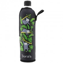 Dora's reusable glass bottle in Sloth CHILLAX neoprene sleeve