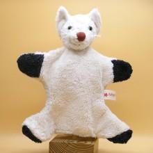 Hand Puppet Cat, white, vegan Soft Toy