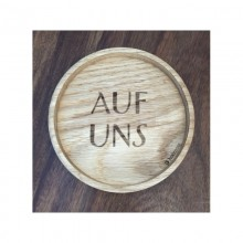 "Coaster ""Auf uns"" (To us) Wood – solid oak – 2 pieces"