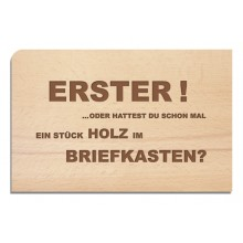 Wooden Postcard ERSTER (FIRST) - Greeting Card