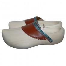 "Women's Men's Unisex Wooden Design Clogs with Leather Cap ""Garden Dream"""