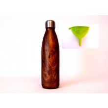 Stainless Steel Thermos Bottle in Wood Design & Bioplastic Funnel green