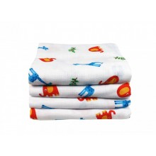 Muslin Squares – Elephant & Giraffe 4-pack – different sizes
