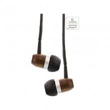 Wooden In-Ear-Headphones from Walnut  Wood – Woodin In-Ear Headset with Cable Microphone/Function Button
