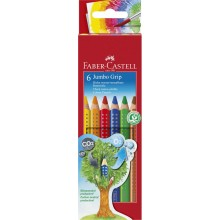 Faber-Castell Jumbo Grip Crayon, cardboard box set of 6 non-toxic Eco Pencils