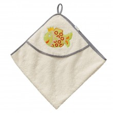 "Hooded Bath Towel ""Princess Fish"", Natural, for children"