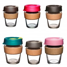 KeepCup Brew Cork – Refillable Cup made of Glass with Natural Cork Band