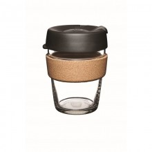 KeepCup Cork Black 12 oz – Refillable Cup made of Glass with Natural Cork Band