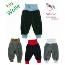 Baby Bloomers made of Organic Wool Fleece Anthracite with colored Waistband