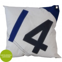 Blue-white Cushion Cover with Filling Sail Boat 14 made of canvas (recycled or new) 50x50 cm – customizable