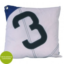 Blue-white upcycled Cushion Sail Boat 3 made of canvas (recycled or new) 50x50 cm – customizable