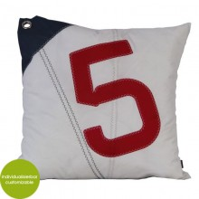 Red-white-blue Cushion Sail Boat No. 5 made of canvas (recycled or new) 50x50 cm – customizable