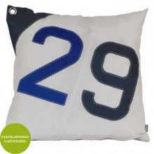 Blue-white Cushion Sail Boat 29 made of canvas (recycled or new) 50x50 cm – customizable