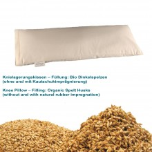 Knee Pillow with Organic Spelt Husks without natural rubber impregnation in organic cotton cover