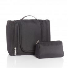 Hanging Toilet Bag, black, incl. cosmetic bag
