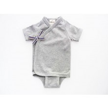 Baby Organic Wrap Short Sleeve Bodysuit Gray