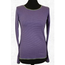 Longsleeve finely ringed in Purple-Lime Green with contrasting hem by JALFE