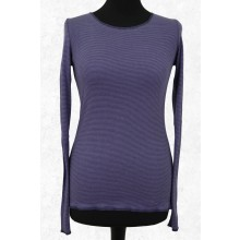 Purple-Blue ringed Organic Cotton Longsleeve with contrasting hem by JALFE
