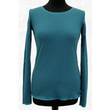 Blue-Grey Longsleeve with contrasting hem in Turquoise by JALFE