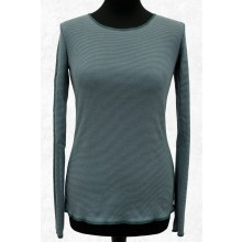 Long-sleeved shirt Blue-Green-Grey ringed with contrasting hem by JALFE