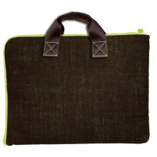Bag for Laptop / Notebook Linen – Chocolate/Green – 13 and 15 Zoll