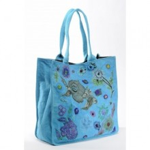 Large Shopper Sophie Turquoise in Recycled Cotton
