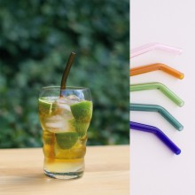 10 Smoothie Glass Straws curved, 22 cm, transparent or colourful, incl. Cleaning Brush